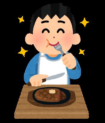 ステーキを食べる人のイラスト(男性)