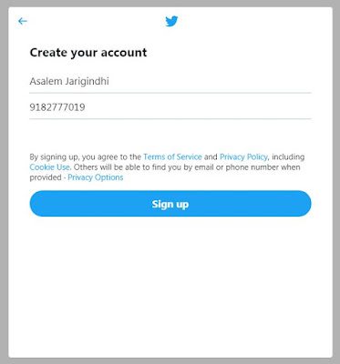 Click on signup to create twitter account