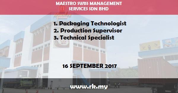 Jawatan Kosong di Maestro Swiss Management Services Sdn Bhd
