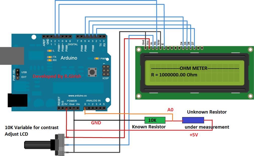 Build A Digital Ohmmeter : Simple arduino digital ohmmeter circuit