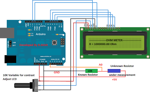 Simple Arduino Digital Ohmmeter Circuit