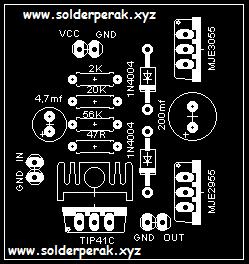 Skematik, rangkaian, layout, power amplifier mini, layout power amplifier mini,