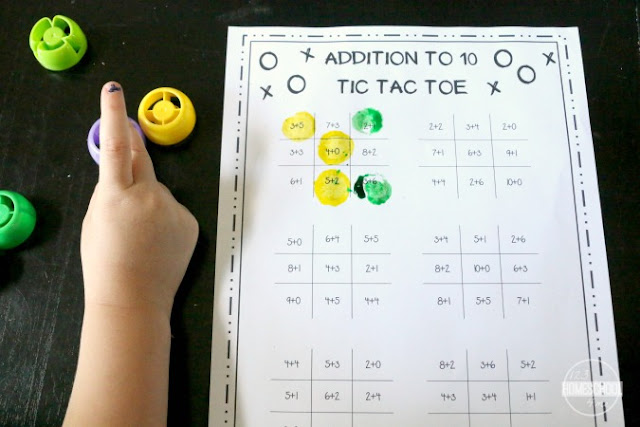 addition practice with free printable tic tac toe math games