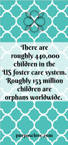 There are roughly 440,000 children in the US foster care system. Roughly 153 million children are orphans worldwide.