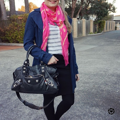 awayfromtheblue instagram stripe henley black pencil skirt navy coat and pink skull scarf bal part time bag