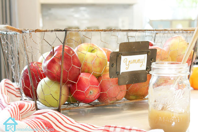 metal basket spray painted for a rustic look