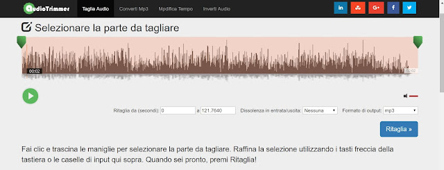 pagina principale di AudioTrimmer