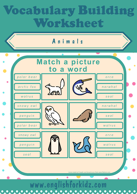 Polar animals, Arctic animals worksheet - picture to word matching - free ESL printables
