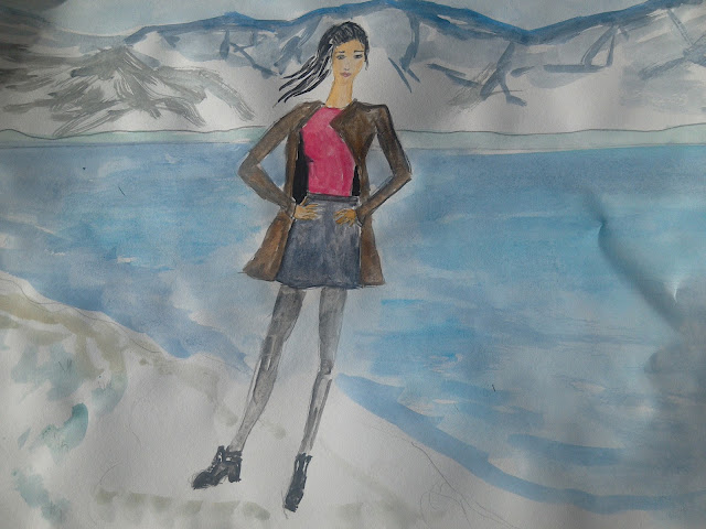 Fashion illustration of the day ( location  Mostar lake) #watercolour #fashionillustration
