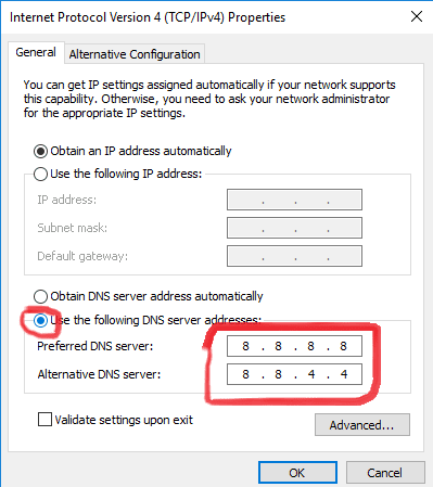 Change DNS to Google DNS
