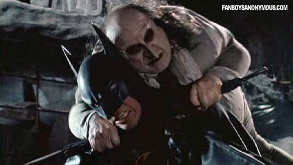 Batman Penguin Tim Burton Movie Screen Shots Dark Gothic Villain Fight