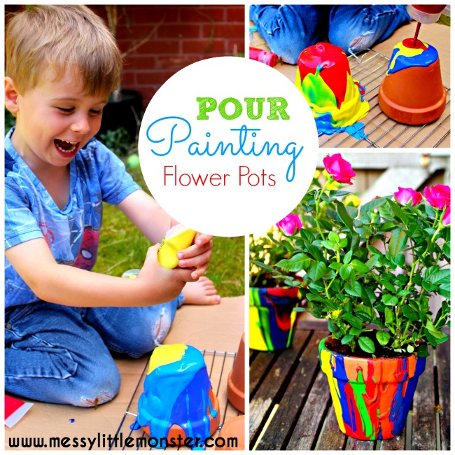 DIY pour painting flower pot craft for kids. Pour painting is a fun and easy painting technique and easy art idea for kids. This rainbow craft makes a perfect Mothers Day or teacher kid made gift. Can be made as part of a Spring project for kids.