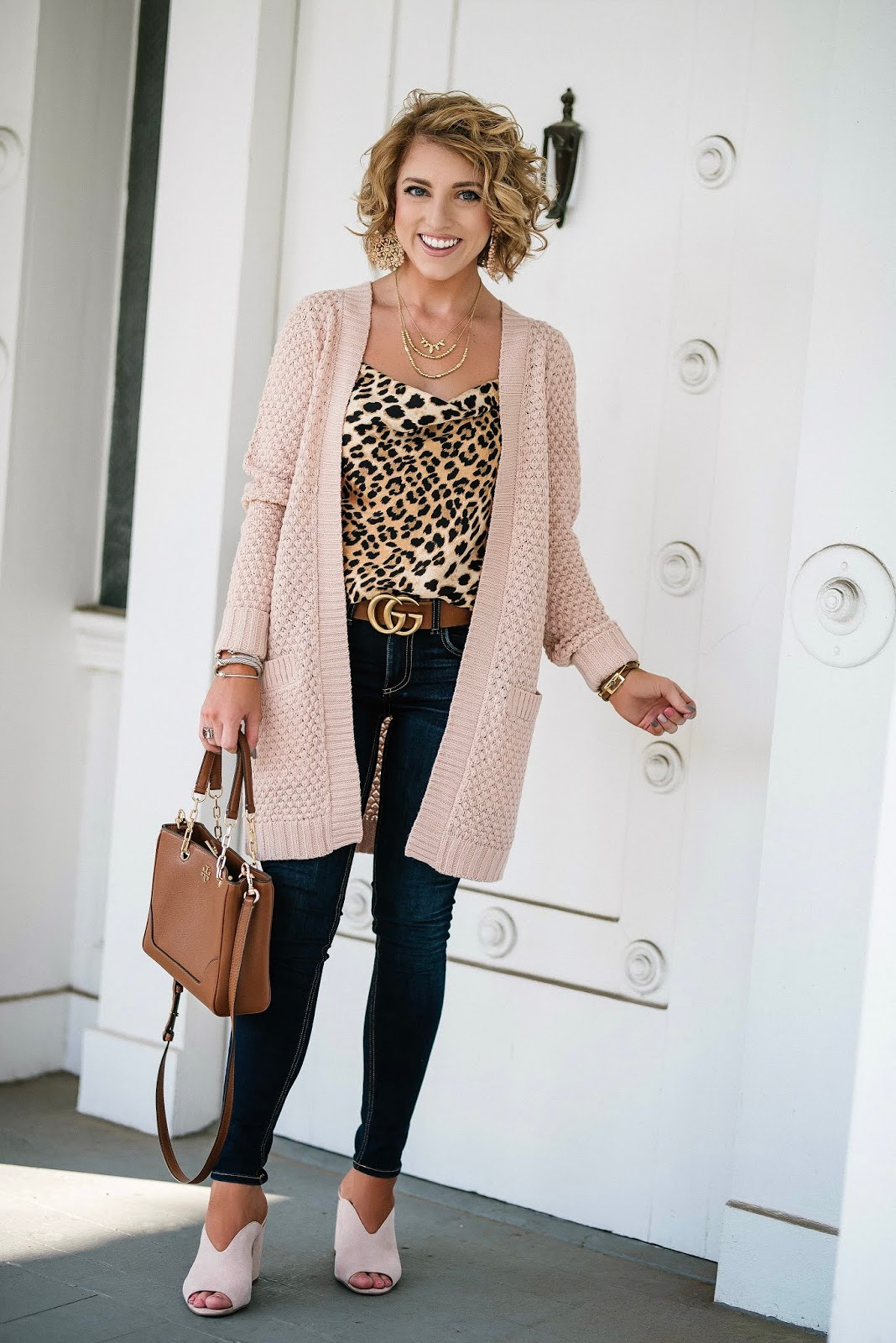 $34 Pink Cardigan + Leopard Cami - Something Delightful Blog