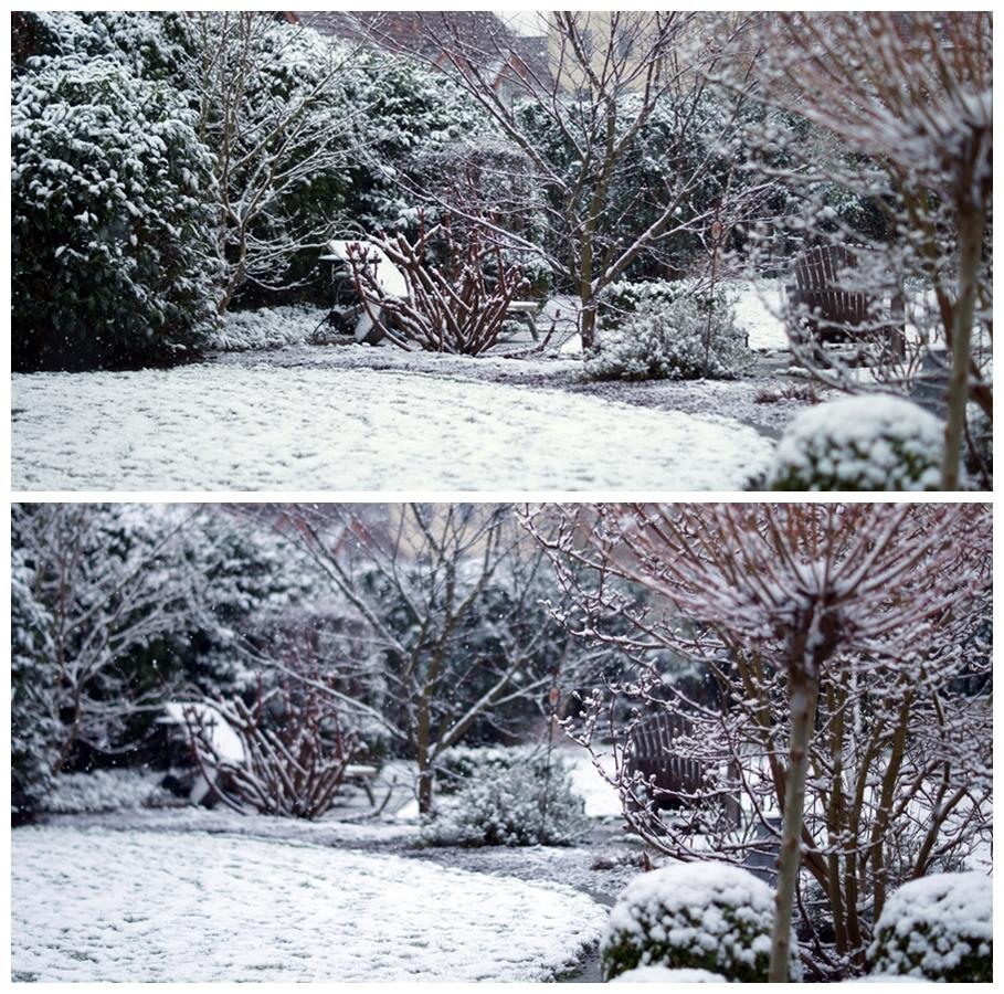 Blog + Fotografie by it's me! - Winter für einen Tag - Collage von Schneeflocken im Garten