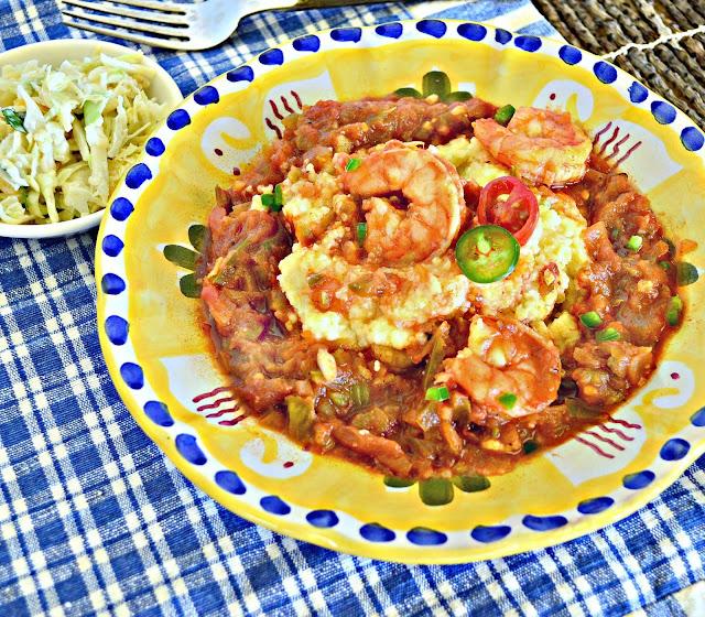 shrimp, grits, jalapeno