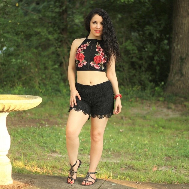 Black Rose Applique Crop Top and Short Set
