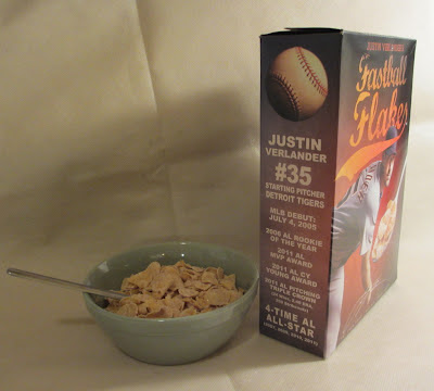 Justin Verlander cereal Fastball Flakes side of box