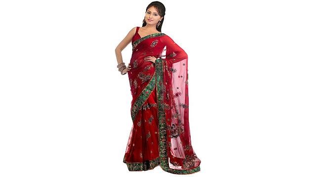 Jay Fashion Embellished Fashion Net Saree  (Red)
