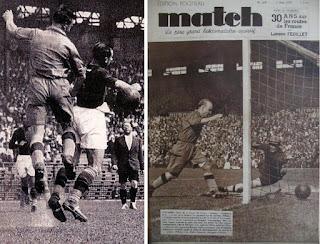 """Schiavio in azione contro il Sochaux. Sullo sfondo a sinistra la figura di Sansone. Nell'immagine a destra: Abegglen sulla copertina di """"Match""""."""