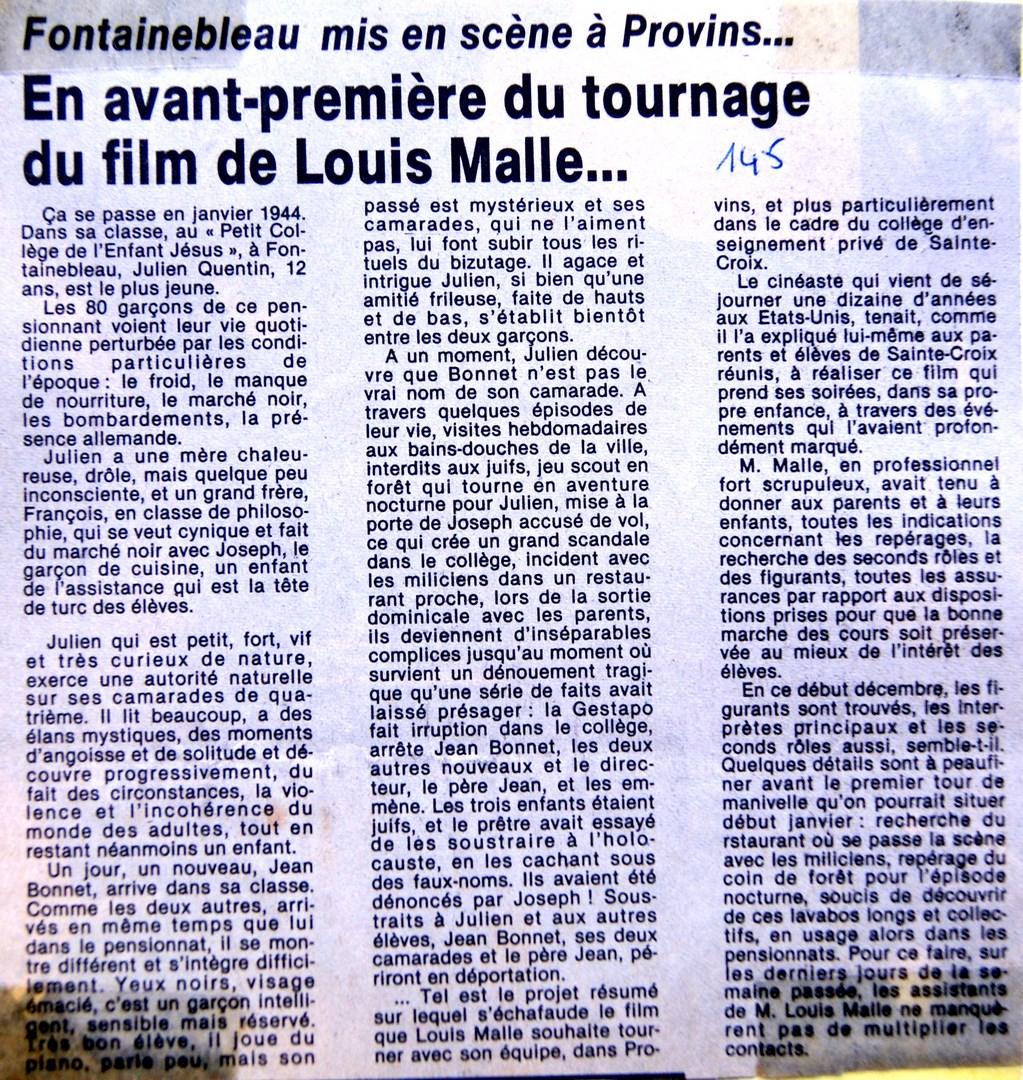 Comme les articles précédents de fin novembre, début décembre 1986,  celui-ci fait le tour du projet, pour un début de tournage qui se situera à  la rentrée ...