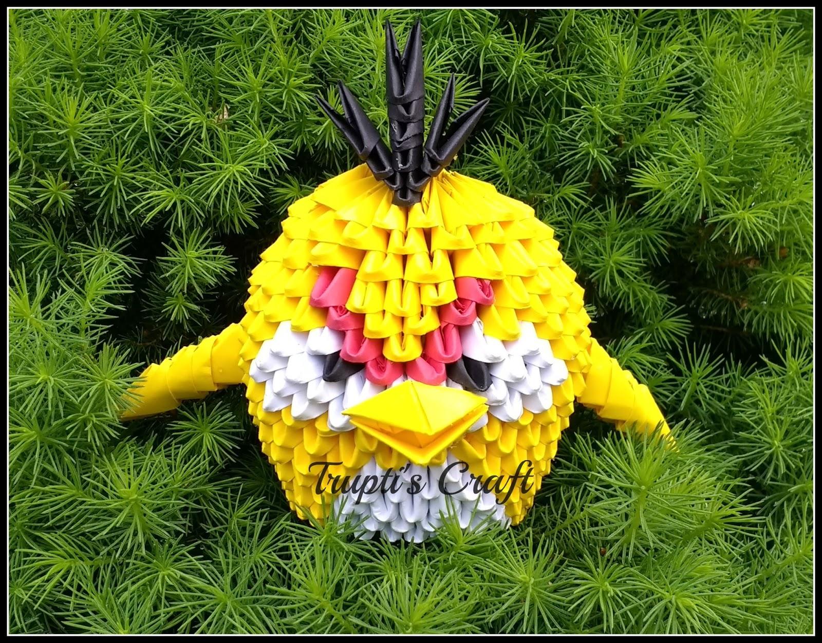 Truptis craft 3d origami yellow angry bird 3d origami yellow angry bird jeuxipadfo Images