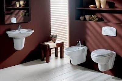 Baño moderno color chocolate