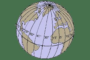 Planisferio de la Tierra con los meridianos que señalan la longitud