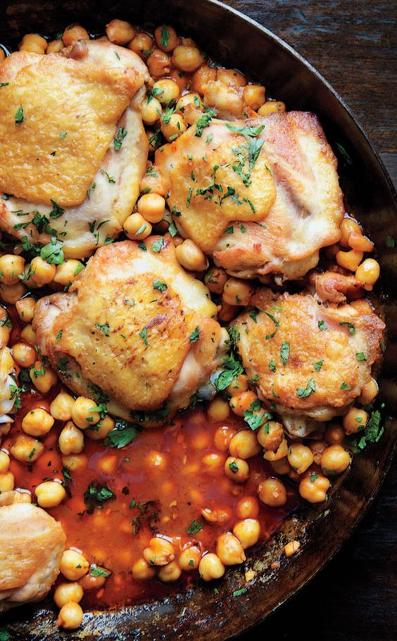 Roasted Chicken with Harissa and Chickpeas