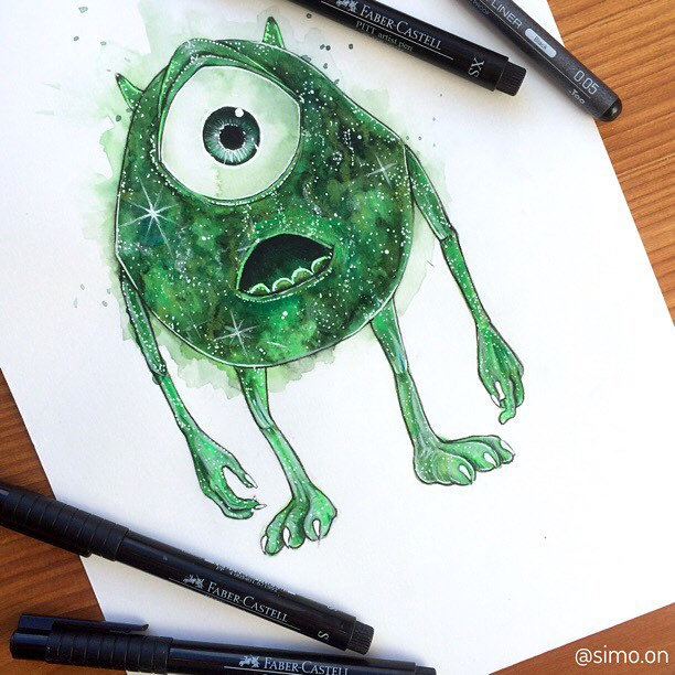 20-Mike-Wazowski-Monsters-Inc-Simon-Balzat-Colored-Pencils-make-Beautiful-Drawings-www-designstack-co
