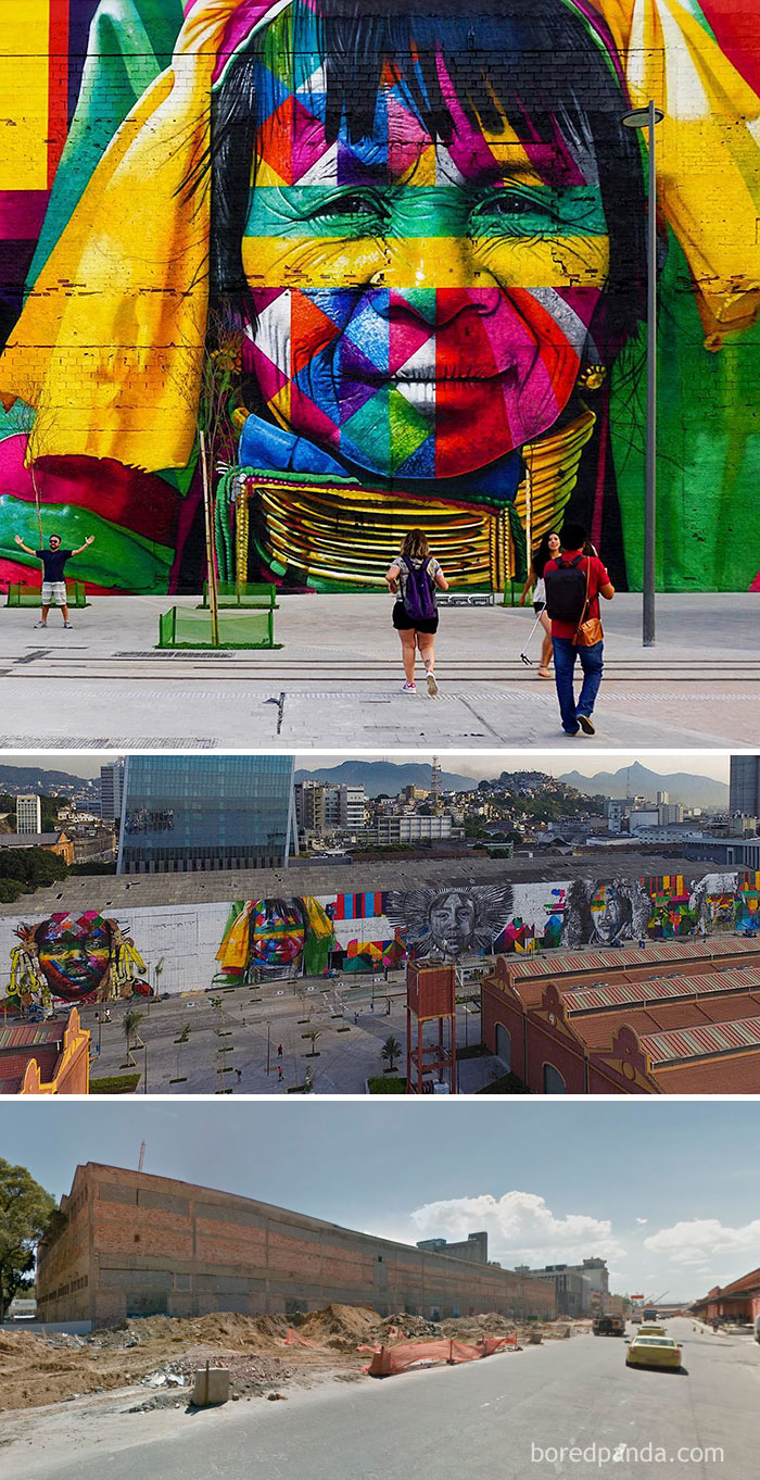 10+ Incredible Before & After Street Art Transformations That'll Make You Say Wow - The Ethnicities, World's Largest Street Mural For The Rio Olympics, Rio De Janeiro, Brazil