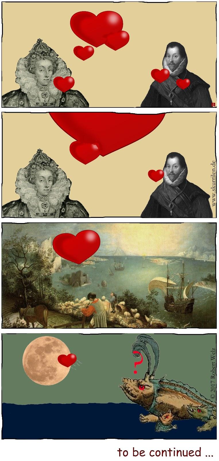 Herz Fantasy Comic verliebt Collage Gemälde Pieter Bruegel Kunst 16. Jahrhundert Königin Pirat Seeungeheuer