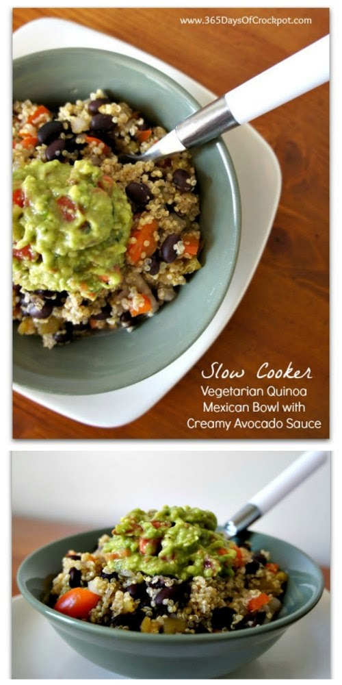 Slow Cooker Vegetarian Quinoa Mexican Bowl with Creamy Avocado Sauce from 365 Days of Slow Cooking found on SlowCookerFromScratch.com