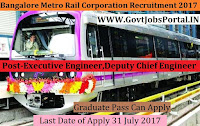Bangalore Metro Rail Corporation Recruitment 2017 – Deputy Chief Engineer & Executive Engineer