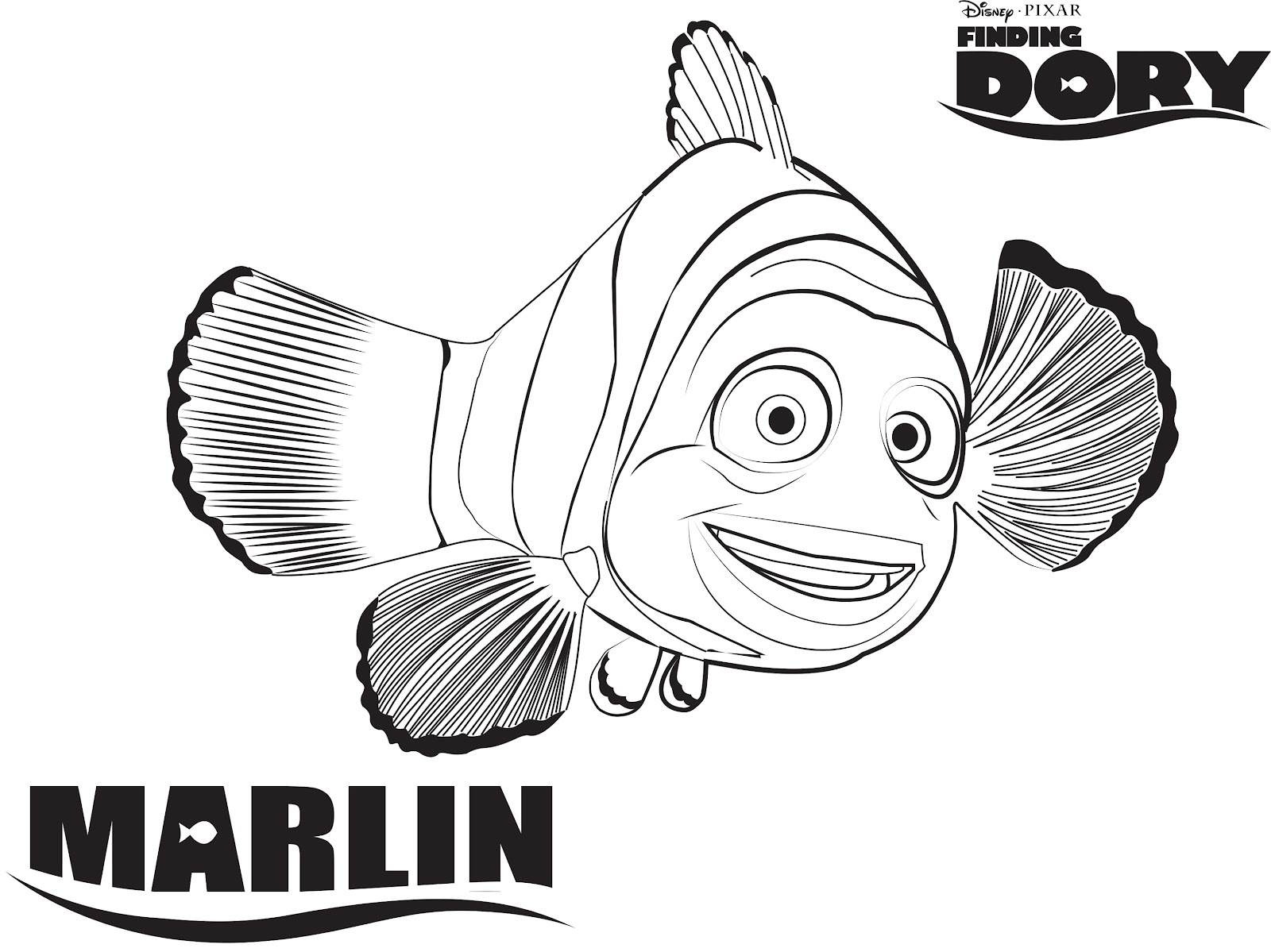 Marlin Is Finding Nemo Coloring Page Free Printable - 1000×707