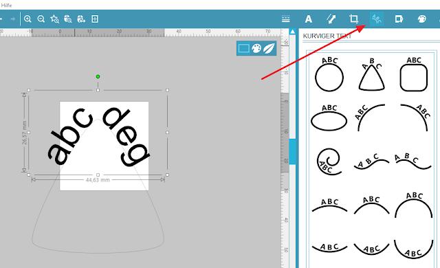 Screenshot Mint Studio: Text biegen