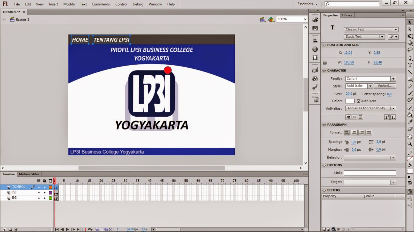 Membuat Company Profile Sederhana Dengan Adobe Flash Cs 6 Terus