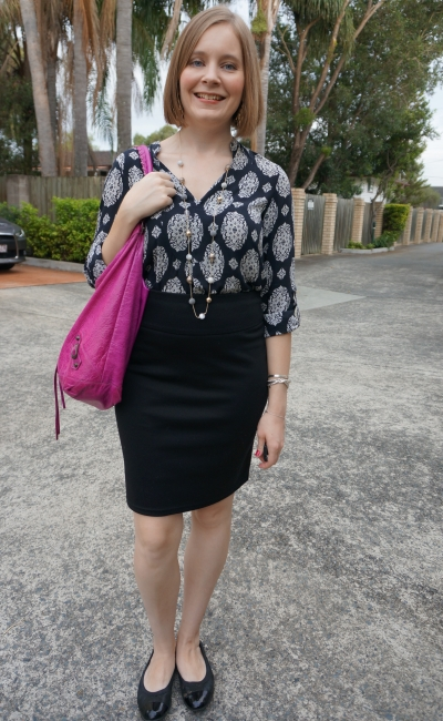 navy shift dress worn as a top with pink balenciaga day bag pencil skirt | awayfromblue