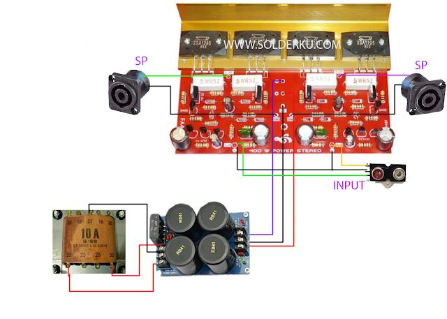 cara merakit power ampli 400 watt stereo