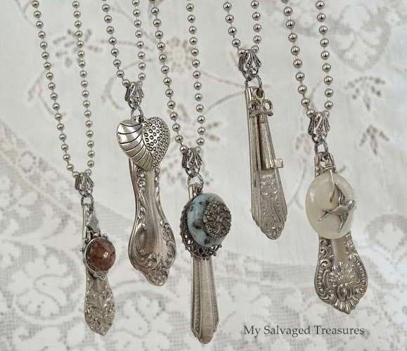 silverware handle necklaces embellished with vintage charms