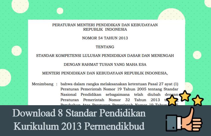 Download 8 Standar Pendidikan Kurikulum 2013 Permendikbud PDF