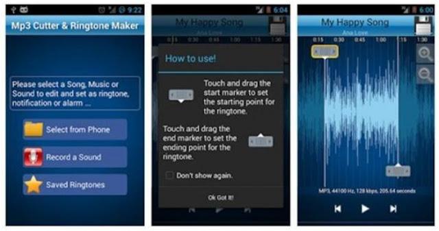 Aplikasi Edit Lagu Android MP3 Cutter and Ringtone Maker
