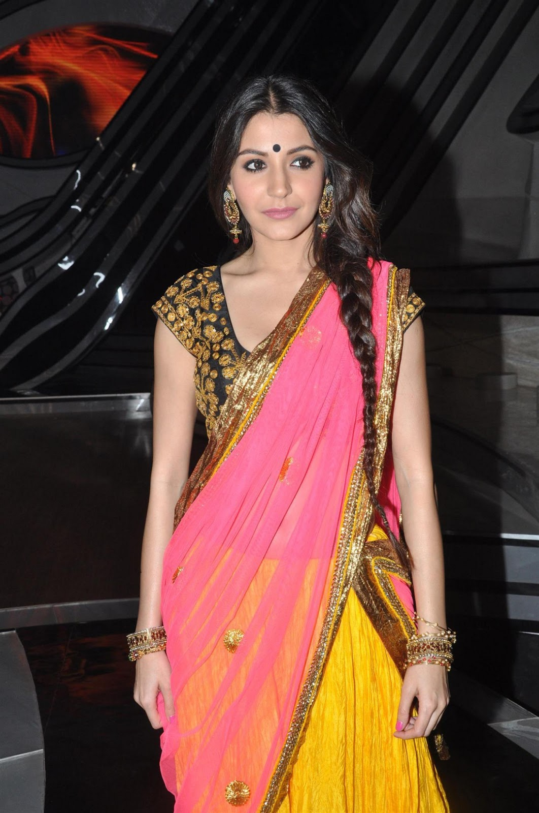 Anushka Sharma Latest Stills In Yellow Half Saree