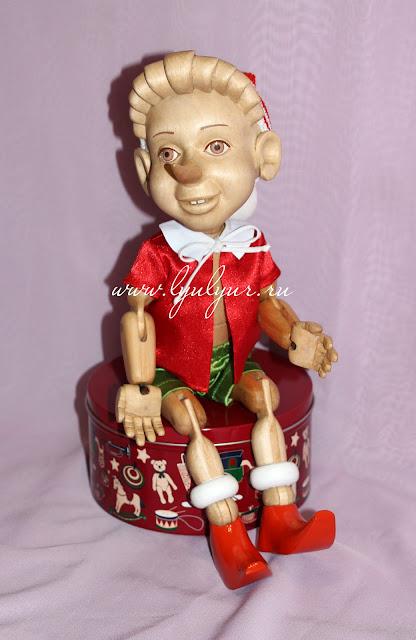 Деревянная шарнирная кукла - Буратино, Деревянный мальчик, Сказочный персонаж, Деревянная кукла, Буратино из дерева, Подарок на любой случай