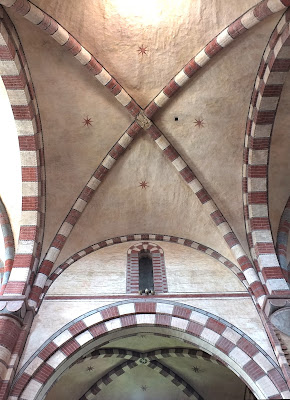 Vaulted church ceiling of Romanesque Staffarda Abbey.