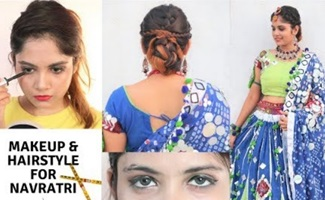 Makeup & Hairstyle For Navratri in hindi/ Indian Festival Makeup & Hair Tutorial