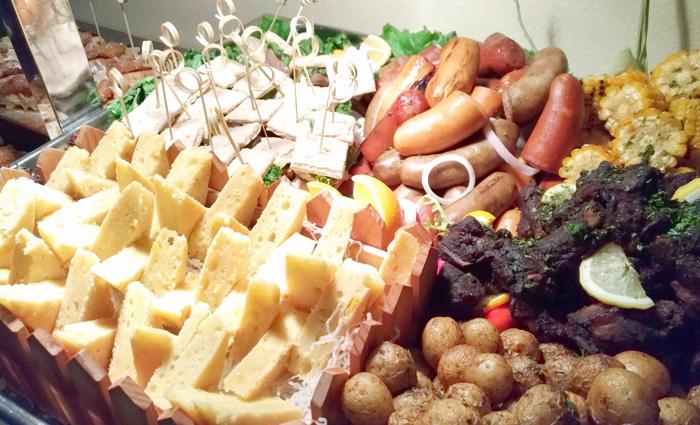 US CAB Porterhouse, Mini Kebab with Garlic Yogurt, Balsamic Ribs,   Grilled Sausages, Corn Cob and Potatoes.