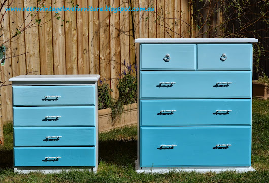 Ombré blue chest of drawers and matching bedside tables