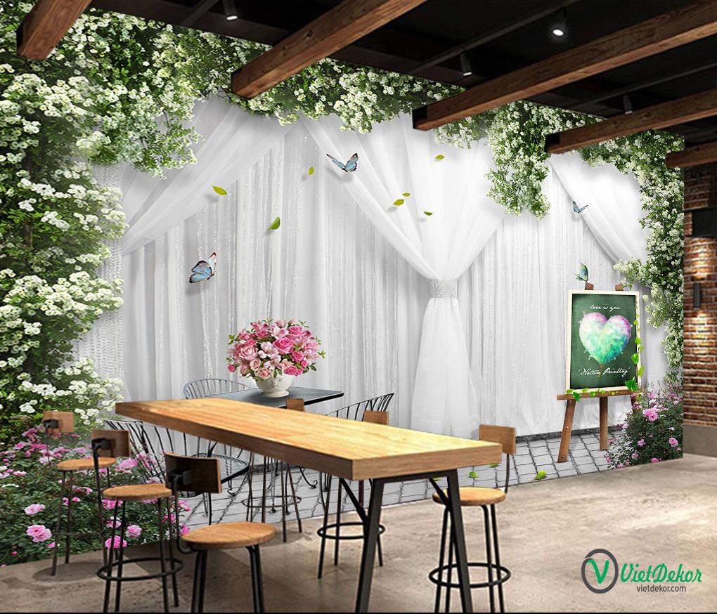 Tranh dán tường 3d hoa trang trí phòng cưới