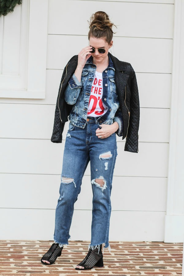 How to layer this fall- graphic tees and denim