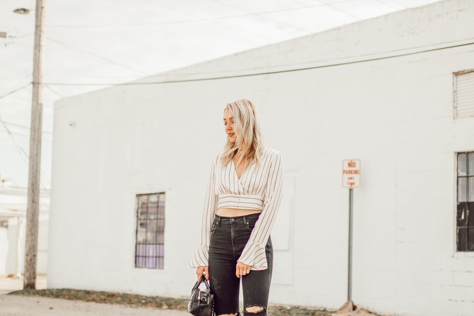 striped satin crop top